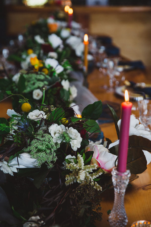 row of floral wedding centerpieces, by Vancouver Island florist Petal and Kettle in Parksville, B.C.