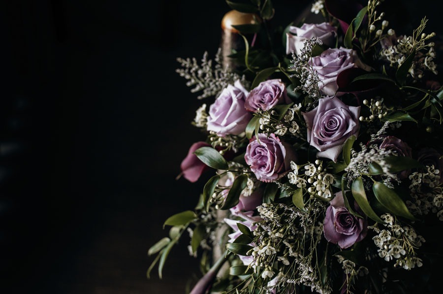 Purple rose wedding bouquet, assembled by Petal and Kettle, Parksville, Vancouver Island florist