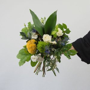 yellow, white, green, blue bridal bouquet in Parksville by Pettle and Kettle on Vancouver Island