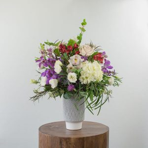 Purple, pink, white floral arrangement by Parksville florist Petal and Kettle on Vancouver Island