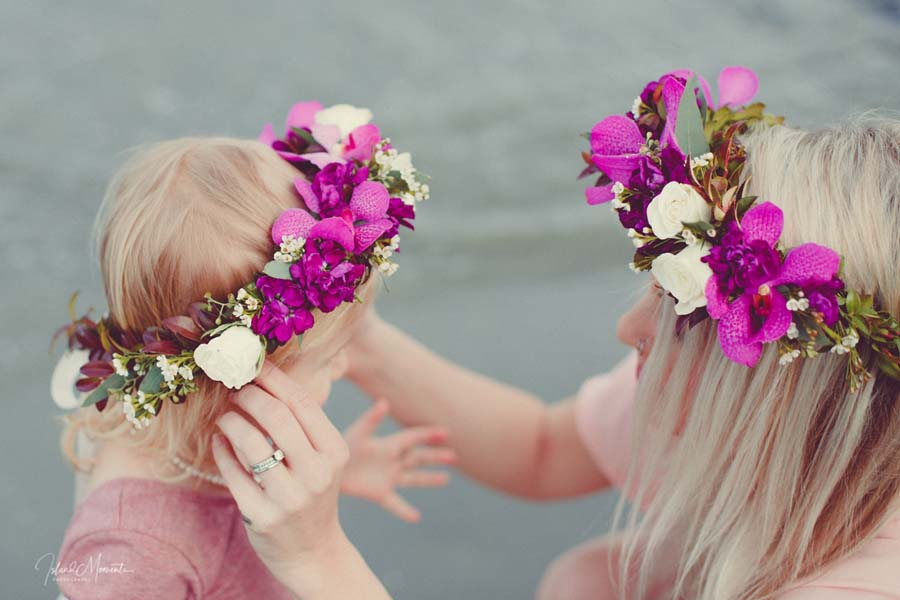 child and mom wearing purple and white floral crown, by Parksville Qualicum Beach florist Petal and Kettle, Vancouver Island
