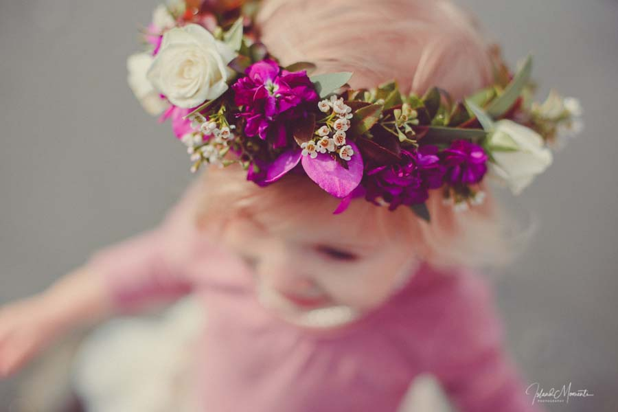 child wearing purple and white floral crown, by Parksville florist Petal and Kettle, Vancouver Island