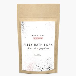 Midnight Paloma fizzy bath soak charcoal and grapefruit , available in store or online at Petal and Kettle, Parksville gift shop