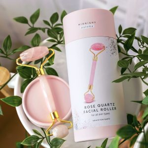 Midnight Paloma rose quartz facial roller, available in store or online at Petal and Kettle, Parksville gift shop