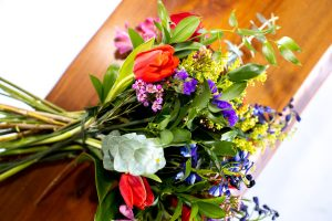 cheerful floral bouquet delivery to Nanaimo, Parksville, Qualicum Beach from Petal and Kettle florist