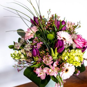 cheerful pink and purple flower vase arrangement from Qualicum Beach Parksville Nanaimo flower delivery service and florist Petal and Kettle